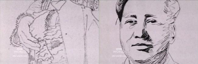 Слева: деталь рисунка Энгра. Справа: рисунок Мао Цзедуна Уорхола