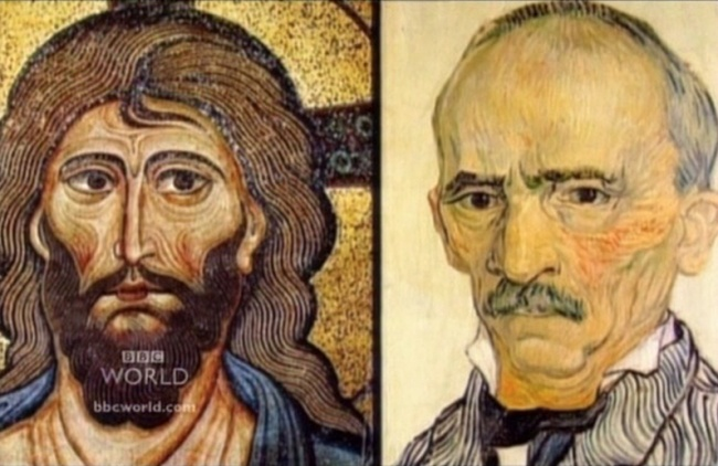 Слева: Византийская мозаика 12 века. Справа: Винсент Ван Гог «Портрет господина Трабука» 1889 г.