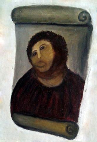 """Се обезьянка"", ""отреставрированная"" фреска Элиаса Гарсиа Мартинеса"